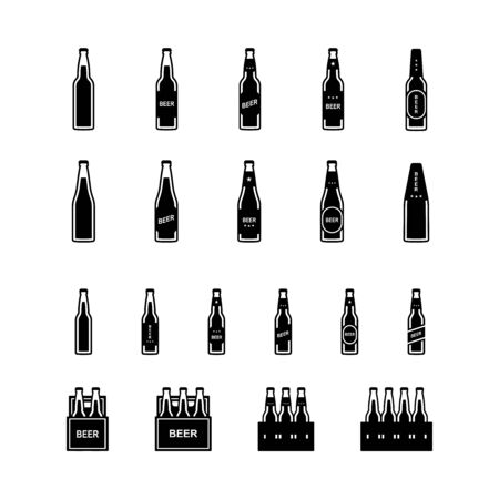 Beer bottle black and white icon set. Vector