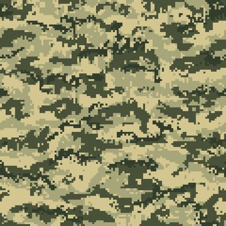 Green forest digital camouflage seamless pattern. Vector