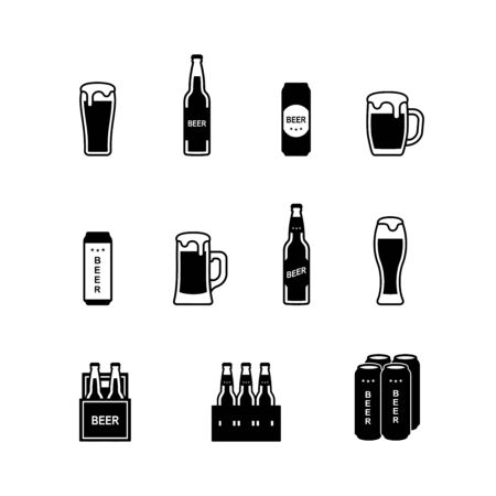 Black and white beer icon set. Vector illustration