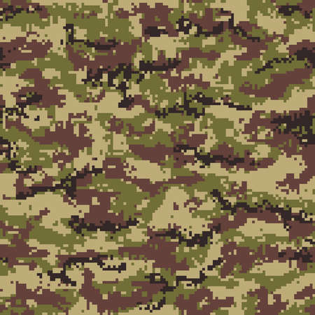 Green brown pixel camouflage seamless pattern. Vector