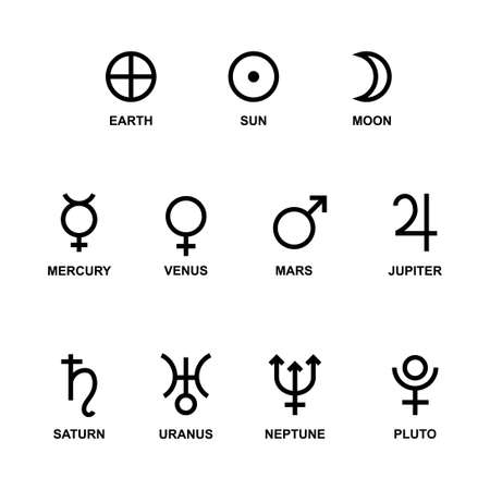 Astrological symbols signs of the planets. Vector Vettoriali