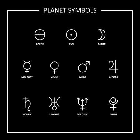 Planet symbols signs on black background. Vector Ilustração