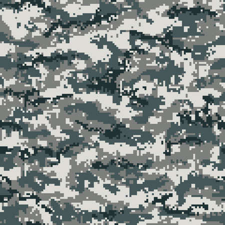 Digital camouflage seamless pattern, pixel gray. Vector