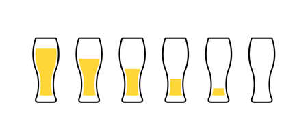 Row of beer glasses from full to empty. Vector Ilustração