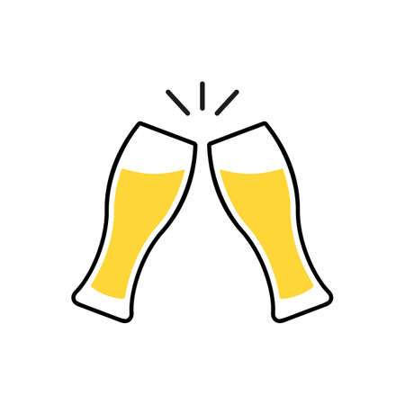 Toast clink two glasses with beer. Vector