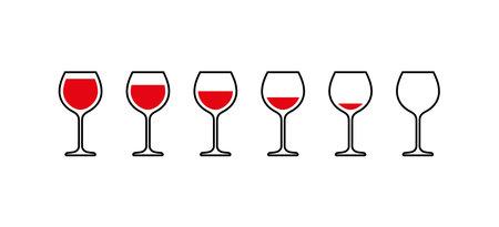 Red wine glasses from full to empty. Vector Ilustração