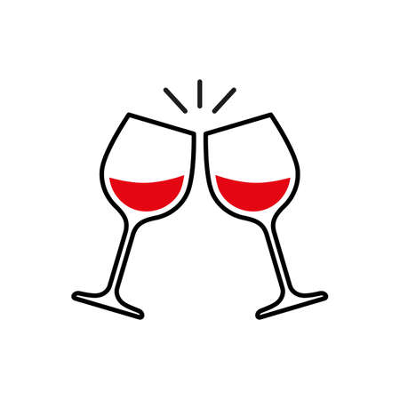 Toast clink two glasses with red wine. Vector Ilustração
