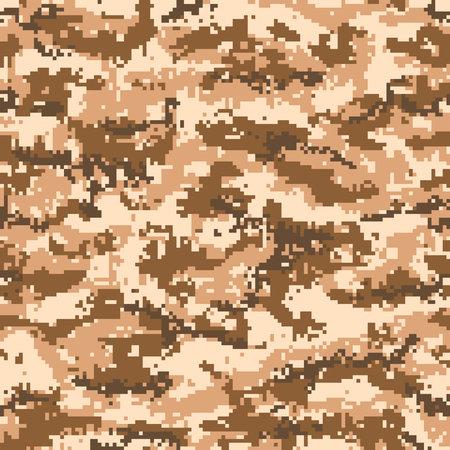 Digital military camouflage seamless pattern, beige brown color. Vector Ilustração