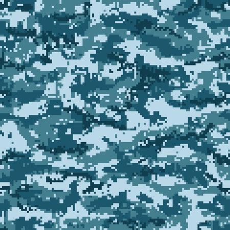 Pixel blue camouflage seamless pattern. Vector illustration Ilustração