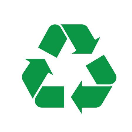 Recycle symbol green triangle arrows. Vector illustration Ilustração