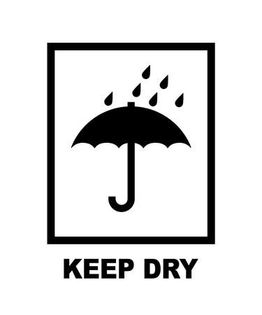 Keep dry umbrella delivery packaging symbol. Vector