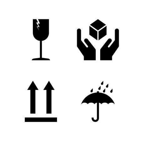Fragile symbols set packaging mark icons. Vector
