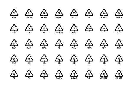 Recycling codes symbols set, plastic paper glass metal. Vector Ilustração
