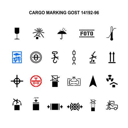Cargo marking symbols by GOST 14192-96. Vector illustration