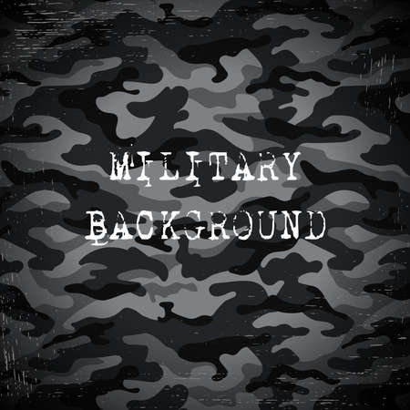Black military camouflage with scratches background. Vector