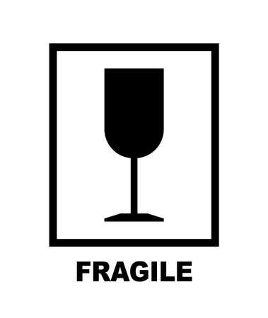 Fragile packaging symbol glass in frame. Vector Ilustração