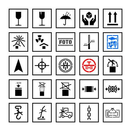 Cargo handling marking symbols in frame set. Vector Ilustração