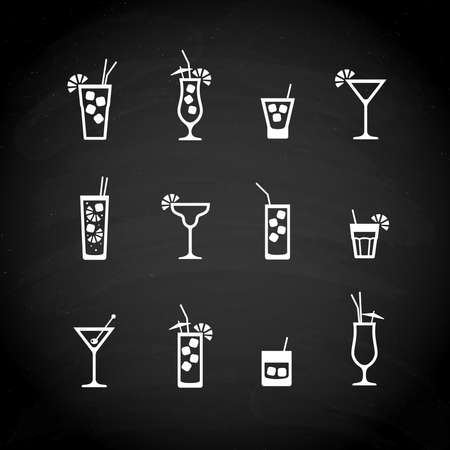 Cocktails white icons on black chalkboard. Vector