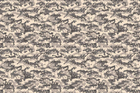 Pixel camouflage brown desert seamless pattern. Vector