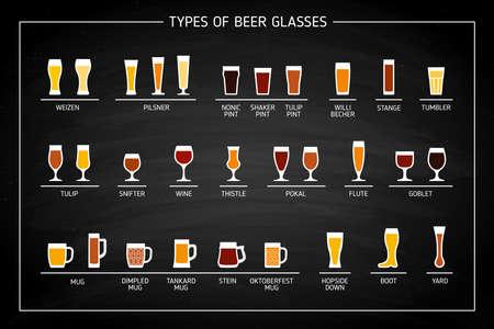 Beer glass types on black chalkboard. Vector Ilustração
