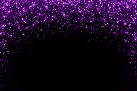 Purple falling particles arch shape on black background. Vector illustration Ilustração