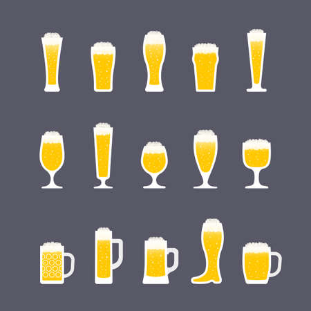 Beer icons set in flat style, bottles and glasses. Icon set in flat style. Vector illustration