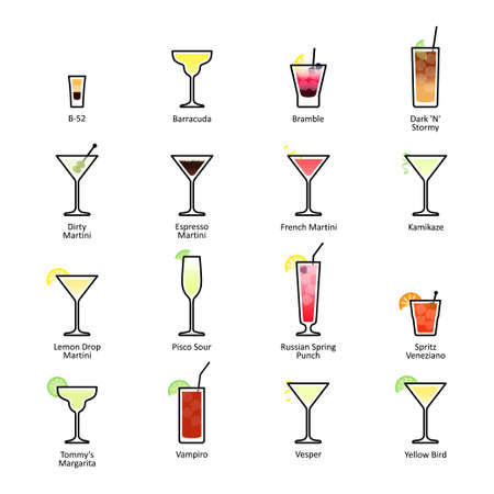 Alcoholic cocktails with titles. IBA official cocktails, New Era Drinks. Icons set in flat style on white background. Vector