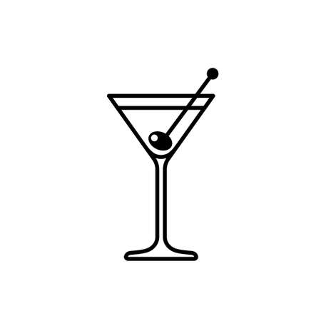 Martini cocktail with olive line icon. Vector illustration Иллюстрация
