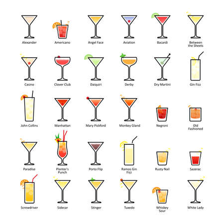 Alcoholic cocktails with titles. IBA official cocktails, The Unforgettables. Icons set in flat style on white background. Vector