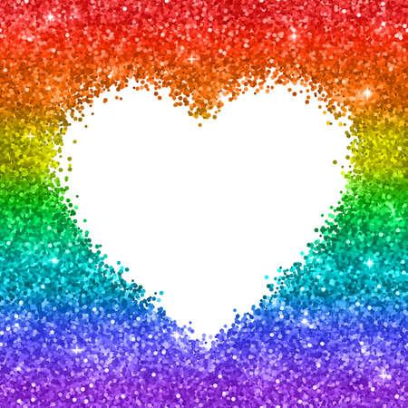 Rainbow glitter heart frame on white background. Vector illustration