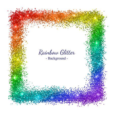 Rainbow glitter square frame on white background. Vector illustration