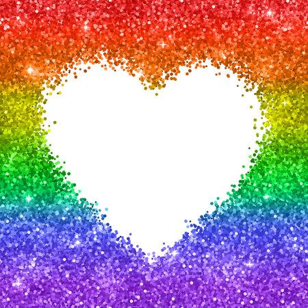 Glitter heart backgrond, LGBT colors. Vector illustration Ilustração