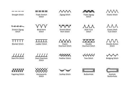 Sewing stitches with titles Ilustração
