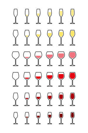 Rows of wine glasses from empty to full