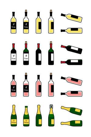 Wine and champagne bottles icons set. Bottle full, open, lying on side Иллюстрация