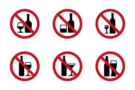 No alcohol icons set