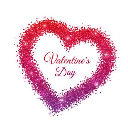 Valentine red purple glitter frame. Vector