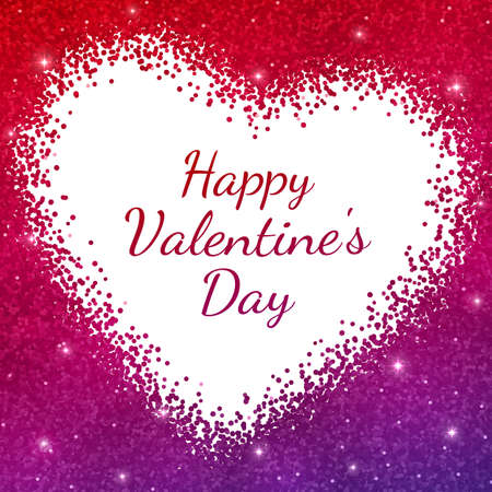 Happy Valentines Day card on red purple sparkles background. Vector illustration