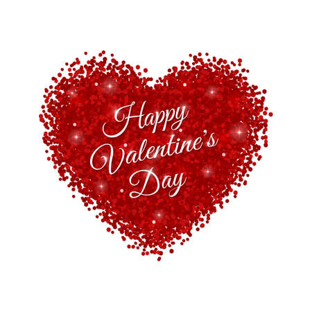 Happy Valentines Day on red glitter heart. Vector