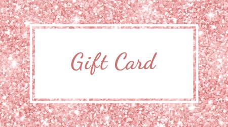 Gift card template rose gold glitter texture. Vector illustration Иллюстрация
