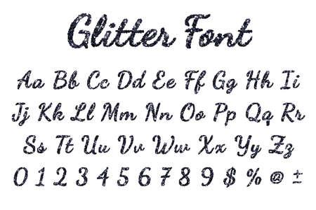 Black glitter alphabet on white background. Vector illustration