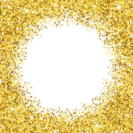 Gold shiny glitter on white background, round border frame. Vector illustration