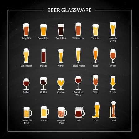 Types of beer glasses, flat icon on black chalkboard. Vector illustration