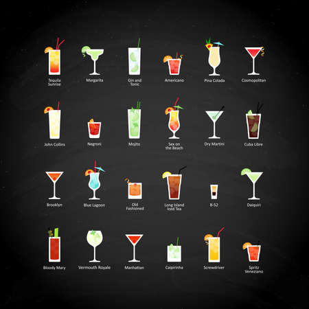 Set of alcoholic cocktails icons in flat style on black chalkboard. Vector illustration Иллюстрация