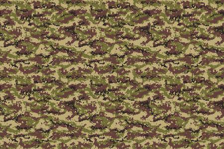 Pixel army green brown camouflage texture. Vector Illusztráció