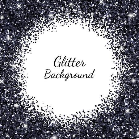 Black round border frame sparkling glitter. Vector Illusztráció