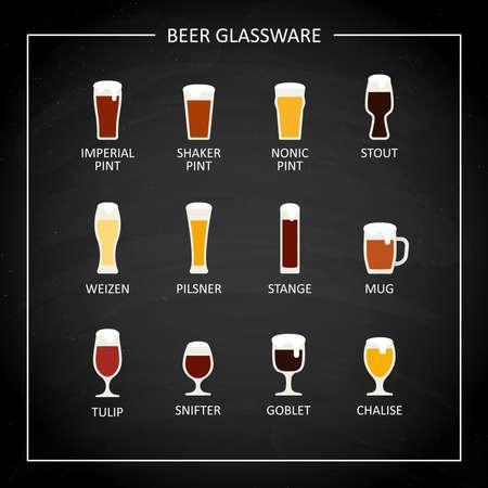 Main beer glasses, flat icon on black chalkboard. Vector Illusztráció