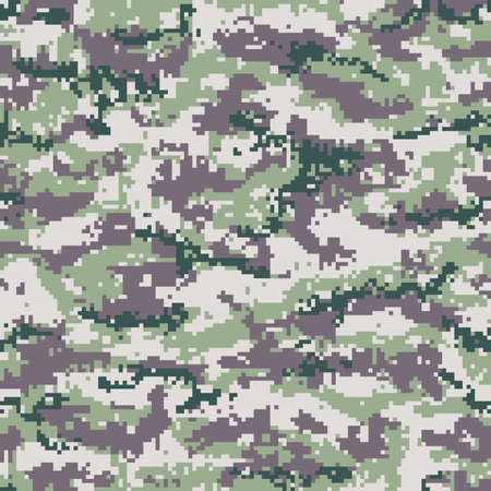Green gray digital camouflage seamless pattern. Vector