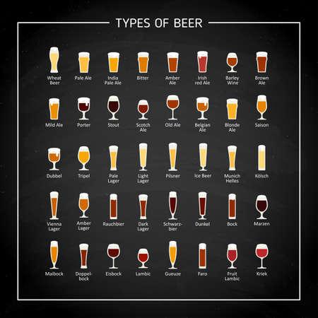 Types of beer flat icons on black chalk board. Vector Illusztráció