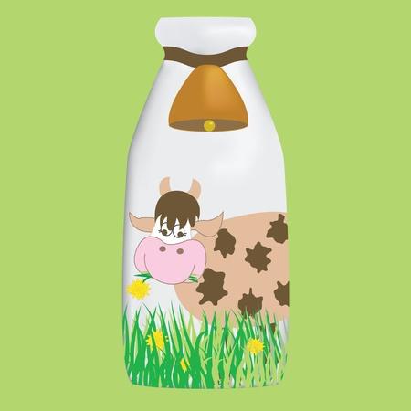 vacas lecheras: Botella de leche Vectores